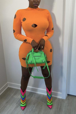 Orange Cotton Blend Sexy Hollow Out Long Sleeve O Collar Bodycon Solid Color Hip Mini Dress WY6834-4