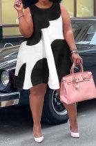 Black Sexy Women Sleeveless Loose Round Neck Club Plus Mini Dress K8961-2