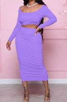 Purple Fashion Women Pure Color Long Sleeve Backless Split Skirts Sets NL6088-2
