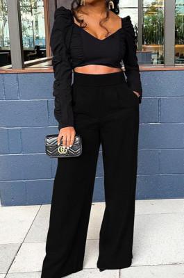 Black Fashion Cotton Blend Low-Cut Long Sleeve Ruffle Dew Waist Blouse High Waist Shift Pants Two-Piece SM9199-3