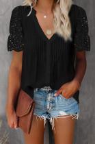 Black Summer Lace Short Sleeve V Collar Ruffle Loose Single-Breasted Shirts MDO202108-2