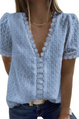 Blue Chiffon Pure Color Jacpuard Short Sleeve V Neck Loose Fashion Blouse MDO9986-5