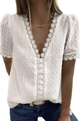 White Chiffon Pure Color Jacpuard Short Sleeve V Neck Loose Fashion Blouse MDO9986-1
