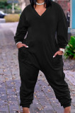Black Casual Plus Size Loose Long Sleeve V Neck Solid Colur Jumpsuits TD80059-1