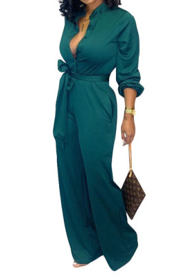 Green Euramerican Women Sexy Pure Color Long Sleeve Tied Casual jumpsuits LD8602-2