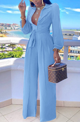Light Blue Fashion Long Sleeve Lapel Collar Solid Color With Waistband Wide Leg Jumpsuits OMY80035-5