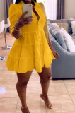 Yellow Casual Solid Color Long Sleeve Lapel Neck Single-Breasted Shirt Dress OMY0022-2