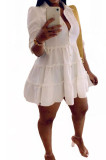 White Casual Solid Color Long Sleeve Lapel Neck Single-Breasted Shirt Dress OMY0022-1