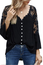 Black New Lece Hook Flower Embroidered Hollow Out Horn Sleeve V Neck Loose Shirts MDO1740-3