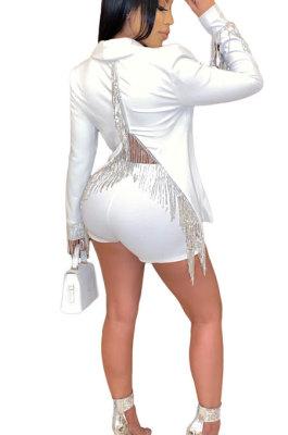 White Euramerican Women Solid Color Back Deep V Split Tassel Casual Turn-Down Collar Shorts Sets RB3042-1