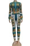 Green Printing Casual Long Sleeve Zipper Bodycon Pants Sets YZ2455