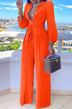 Blackish Green Fashion Long Sleeve Lapel Collar Solid Color With Waistband Wide Leg Jumpsuits OMY80035-7