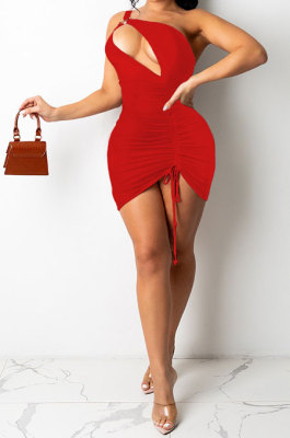 Red Women Sexy Club Dress One Shoulder Solid Color Hollow Out Mini Dress SH7279-2