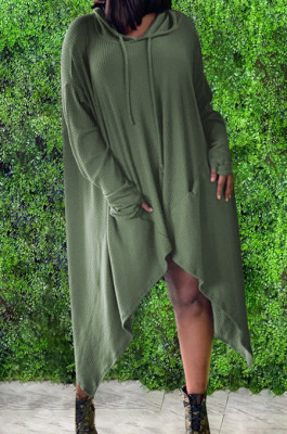 Army Green Cotton Blend Casual Long Sleeve Hoodie Loose Solid Color Irregularity T-Shirt Dress QSS51032
