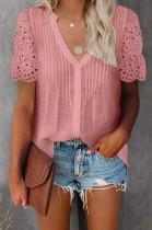 Pink Summer Lace Short Sleeve V Collar Ruffle Loose Single-Breasted Shirts MDO202108-3