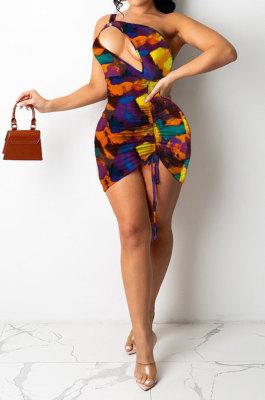 Colorful Euramerican Women Sexy Club Dress One Shoulder Printing Hollow Out Mini Dress SH7278-1