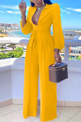 Yellow Fashion Long Sleeve Lapel Collar Solid Color With Waistband Wide Leg Jumpsuits OMY80035-1