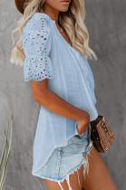 Blue Summer Lace Short Sleeve V Collar Ruffle Loose Single-Breasted Shirts MDO202108-4