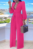 Rose Red Fashion Long Sleeve Lapel Collar Solid Color With Waistband Wide Leg Jumpsuits OMY80035-2