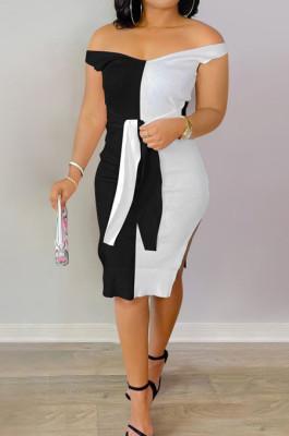 Black Ribber Spliced V Neck Bandge Sexy Slit Slim Fitting Can Leak Shoulder Midi Dfess YM209-2