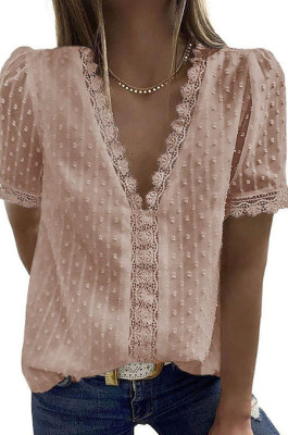 Khaki Chiffon Pure Color Jacpuard Short Sleeve V Neck Loose Fashion Blouse MDO9986-7
