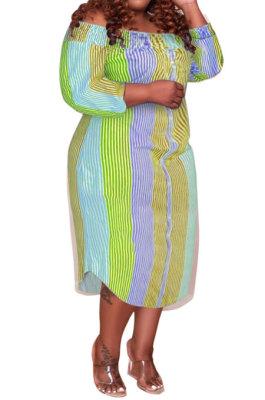 Orange Euramerican Sexy Fashion A Word Shoulder Multicolor Long Sleeve Plus Midi Dress K2156-3