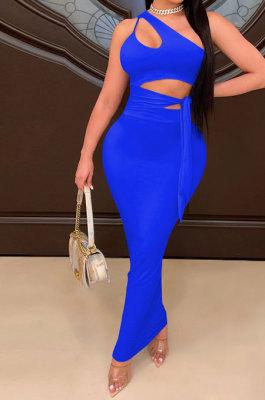 Blue Euramerican Women Condole Blet Dew Waist Backless Bandage Pure Color Long Dress CY1324-4
