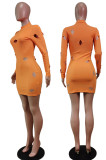 Pink Cotton Blend Sexy Hollow Out Long Sleeve O Collar Bodycon Solid Color Hip Mini Dress WY6834-3