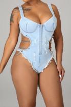 Light Blue Vintage Chain Condole Blet Strapless Zipper Sexy Jean Jumpsuits Swimsuits LA3281