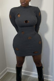 Black Cotton Blend Sexy Hollow Out Long Sleeve O Collar Bodycon Solid Color Hip Mini Dress WY6834-2