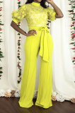 Yellow Mid Waist Long Pants Embroidered Cloth Waistband Wide Leg Jumpsuits YF9064