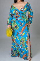 Blue Lady Feather Printing Multicolor Sexy Split Tied Long Sleeve V Neck Plus Long Dress KZ2117-4