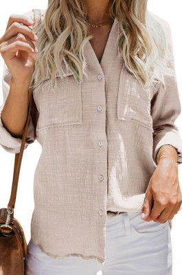 Khaki Summer New Long Sleeve Lapel Collar Single-Breasted Loose Solid Color Shirts MDO0172-4