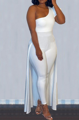 White Personality One Shoulder Short Sleeve Long Pants Cape Pure Color Bodycon Jumpsuits OMY80036-1