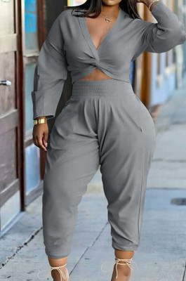 Gray Casual Women Long Sleeve Deep V Collar Crop Top High Waist Carrot Pants Solid Color Two-Piece HXY68016-4