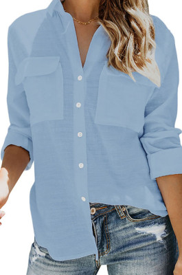 Sky Blue Summer New Long Sleeve Lapel Collar Single-Breasted Loose Solid Color Shirts MDO0172-3