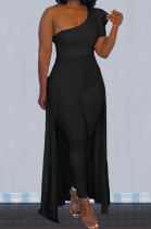 Black Personality One Shoulder Short Sleeve Long Pants Cape Pure Color Bodycon Jumpsuits OMY80036-2