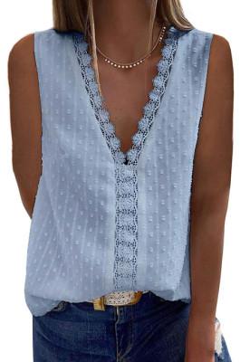 Blue New Jacpuard Deep V Collar Sleeveless Chiffon Pure Color Blouse MDO33-4