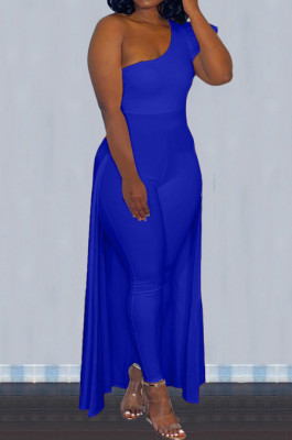 Blue Personality One Shoulder Short Sleeve Long Pants Cape Pure Color Bodycon Jumpsuits OMY80036-4