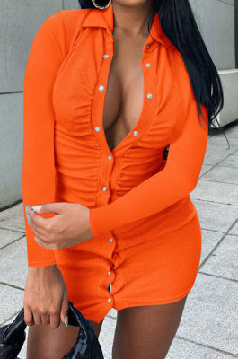 Orange Ribber Single-Breasted Long Sleeve Turn-DownCollar Solid Color Hip Sexy Mini Dress Q931-2