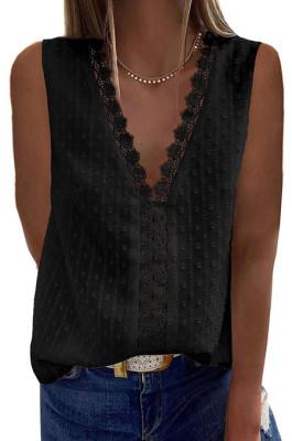 Copy Pink New Jacpuard Deep V Collar Sleeveless Chiffon Pure Color Blouse MDO33-5