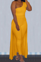 Yellow Personality One Shoulder Short Sleeve Long Pants Cape Pure Color Bodycon Jumpsuits OMY80036-6