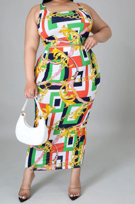 Green Sexy Women Irregular Printing Tank Sleeveless Split Plus Skirt Sets KZ2116-3