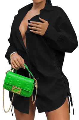 Black Women Hollow Out Tied Loose Pure Color Turn-DownCollar Mini Dress T Shirt/Shirt Dress Q933-2