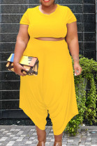 Yellow Cotton Blend Women Short Sleeve Round Neck Crop Top High Waist Haroun Pants Plus Sets P8638-3