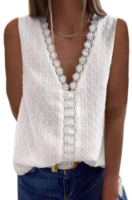 White New Jacpuard Deep V Collar Sleeveless Chiffon Pure Color Blouse MDO33-1
