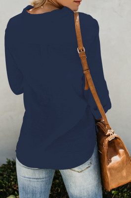 Dark Blue Summer New Long Sleeve Lapel Collar Single-Breasted Loose Solid Color Shirts MDO0172-2