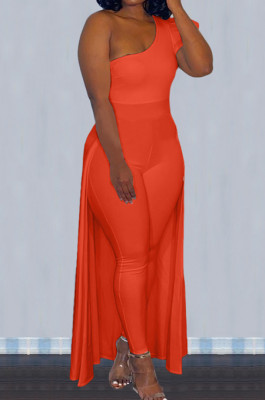 Orange Personality One Shoulder Short Sleeve Long Pants Cape Pure Color Bodycon Jumpsuits OMY80036-7