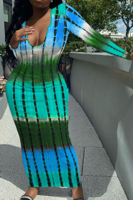 Multicolor Blue Women Tie Dye Ribber Positioning Printing Bodycon Long Sleeve Sexy Long Dress Q922-3