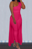 Rose Red Personality One Shoulder Short Sleeve Long Pants Cape Pure Color Bodycon Jumpsuits OMY80036-5